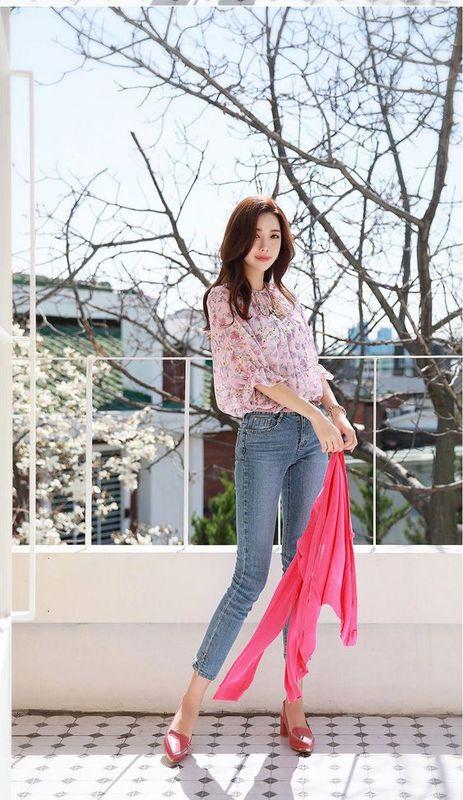 เสื้อชีฟองลายดอกไม้